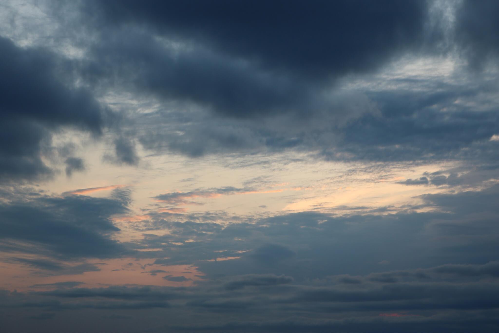 Dusk skyline with clouds