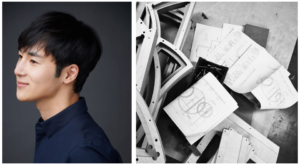 Portrait of Teo Yang and sketches of his Moon bed design
